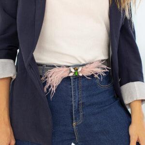 Cinturon Joya con plumas rosa gris C2
