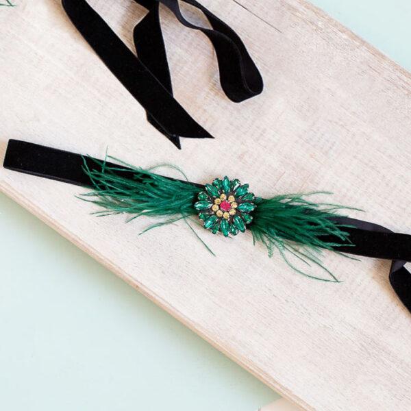 Cinturon fiesta plumas negro verde