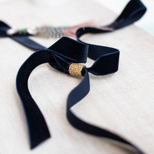 Cinturon terciopelo negro y rosa