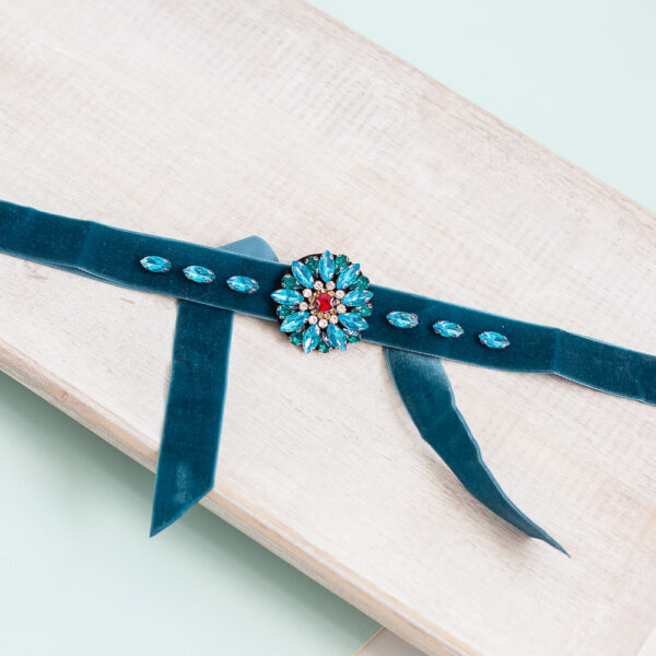 Cinturon terciopelo turquesa